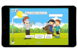 Moomin Language School kielenoppimispalvelu auki kännykän näytöllä