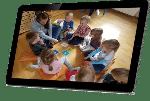 Moomin Language School leikkituokio auki tabletin näytöllä