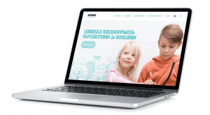 Moomin Language School kielenoppimispalvelun kotisivut auki kannettavan tietokoneen näytöllä