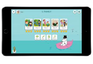Moomin Language School kielenoppispalvelu auki kännykän näytöllä