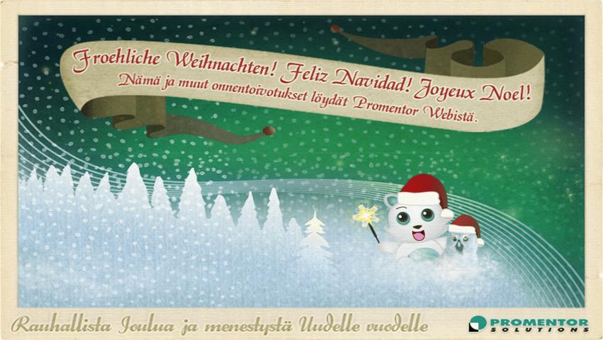 Iloinen maskotti toivottaa rauhallista joulua ja menestystä uudelle vuodelle