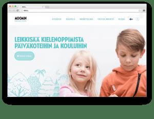 Moomin Language School kielenoppimispalvelu selaimessa