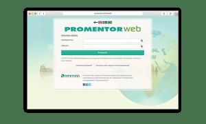 PromentorWebin etusivu ja kirjautumisikkuna