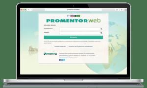 PromentorWebin etusivu ja kirjautumisikkuna auki kannettavalla tietokoneella