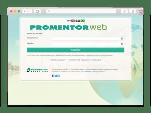 Promentor Webin kirjautumissivu auki selaimessa