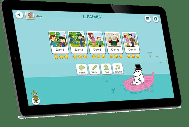 Kuva tabletista ja Moomin Language School kielenoppimispalvelusta